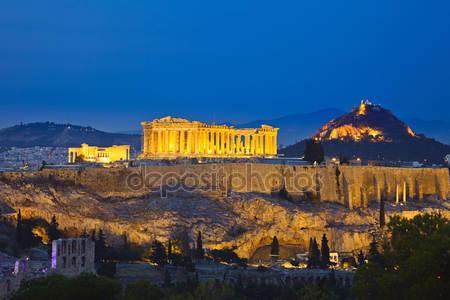Фотообои Акрополь ночью