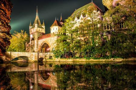 Замок vajdahunyad ночью с озером в будапеште