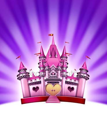 Фотообои Девушка розовый замок