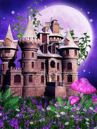 Сказочный замок на лугу