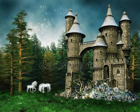 Замок и единороги на лугу