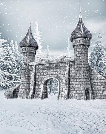 Ворота замка со снегом