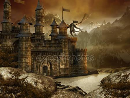 Фантазийный пейзаж с замком