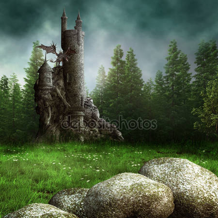 Луг с башней