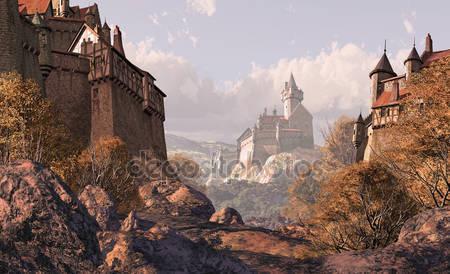 Замок деревни в средневековые времена