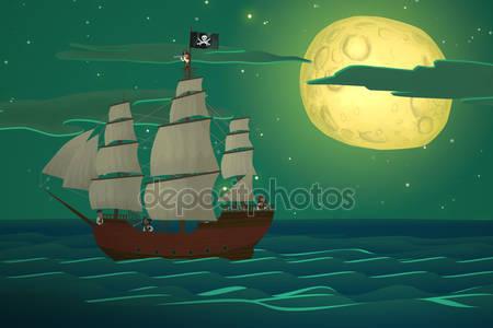 Пиратские корабли в море.