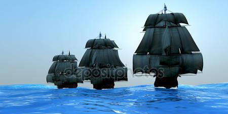 Корабли с парусами