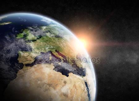 Планета земля и восход солнца