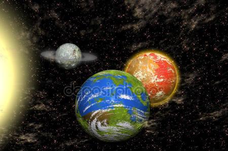 Вид вселенной с планетами