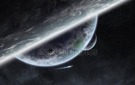 Восход солнца над планетой в космосе