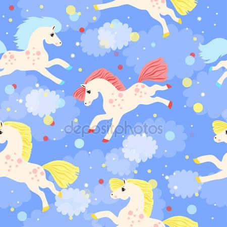 Фотообои Бесшовный фон с цветными лошадями