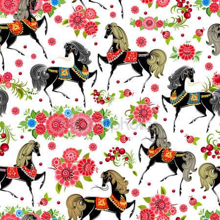 Бесшовный фон с лошадьми в цветах