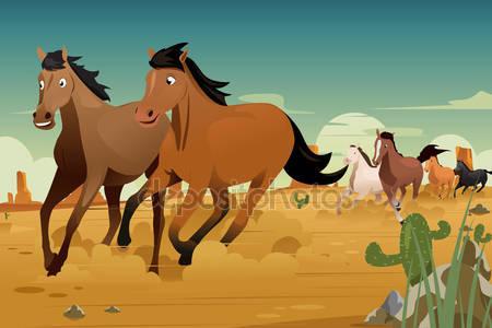 Дикие лошади, работающие на пустыне