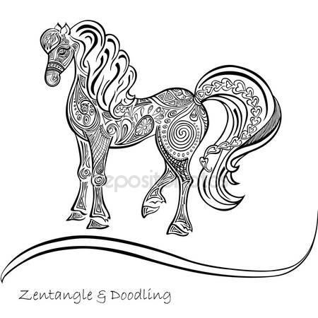 Фотообои Черно-белые узоры лошади