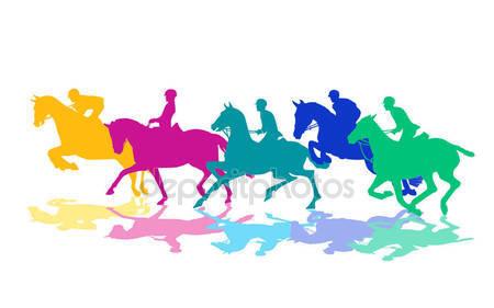 Всадники с лошадьми