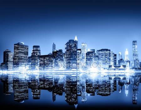 Фотообои Ночной город нью-йорк
