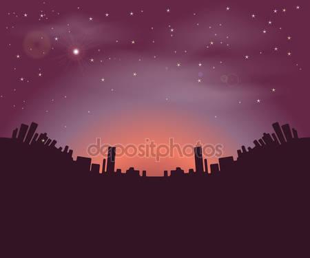 Силуэты зданий города ночью
