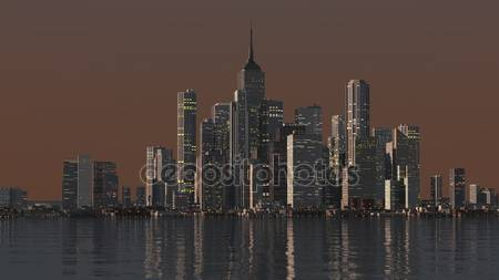 Фотообои Ночной город на воде