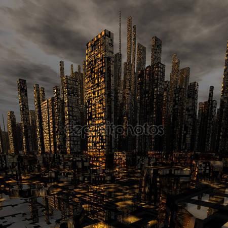 Современный ночной город с небоскрёбами