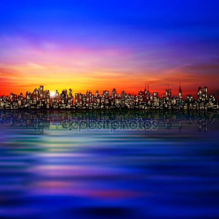 Фотообои Абстрактный фон с силуэтом города
