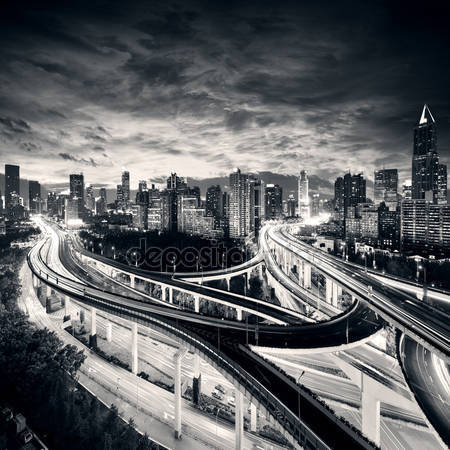 Город шанхай на закате