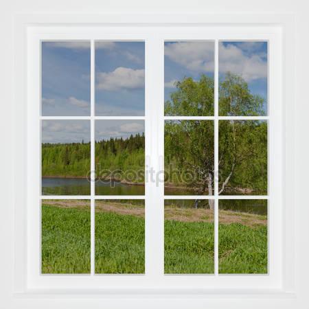 Летний пейзаж позади окна