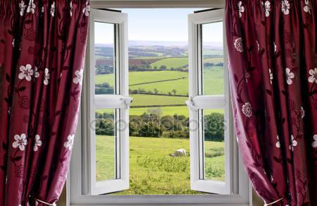 Откройте окно с видом на загородную местность