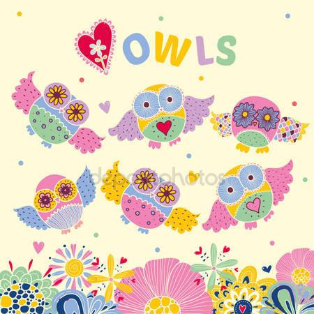 Открытка с совы и цветами