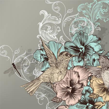 Элегантный цветочный фон с цветами и птицами колибри