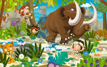Фотообои Мультфильм сцена с доисторического мамонта