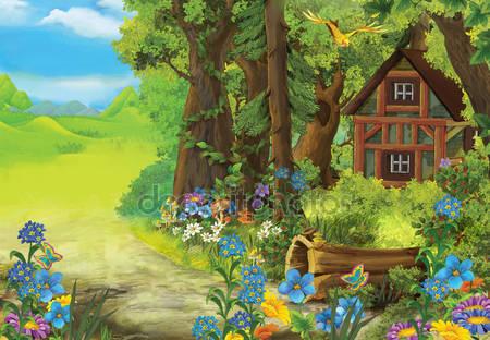 Фотообои Мультфильм старый дом в лесу