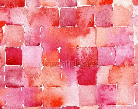 Красные квадраты акварель