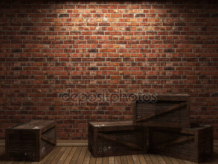 Кирпичная стена и коробки