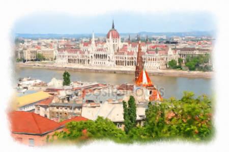 Фотообои Акварельные иллюстрации будапешт