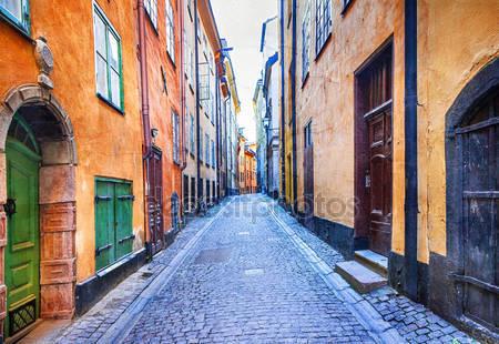 Узкие улочки старого города в стокгольме