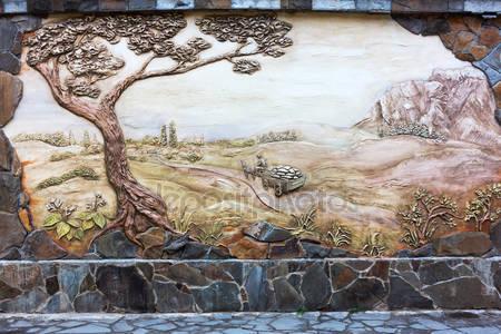 Старинное старое художественное оформление фрески